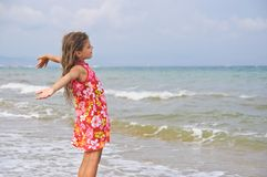Girl and the sea. Royalty Free Stock Photo