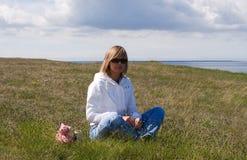 Girl and Sea. Beach water Stock Photo