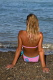 Girl and Sea. Beach water Royalty Free Stock Photo
