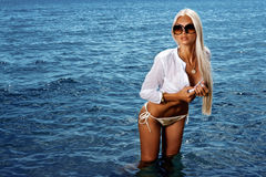 Girl in the sea Stock Photos