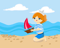 A girl on the sea Royalty Free Stock Image