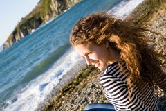 Girl & sea Royalty Free Stock Image
