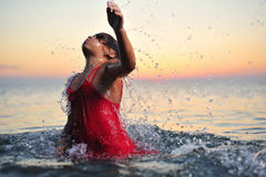 Girl in sea Royalty Free Stock Photo