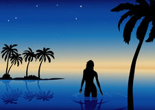 Girl and sea. Vector illustration with sea, girl and palms Stock Images
