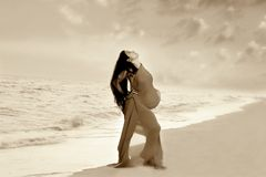 Girl on sea background Royalty Free Stock Images