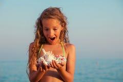 Girl on sea background Royalty Free Stock Photo