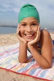 Girl on sea beach Stock Photos