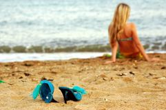 Girl on the sea beach. Ocean royalty free stock images