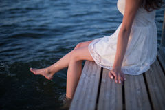 Girl on the sea. The girl on the beach stock images