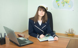 Girl - the sea captain with a atlas Royalty Free Stock Images