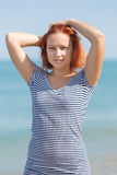Girl at the sea Stock Photography
