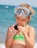 Girl with sea hedgehog Stock Image
