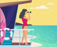 Girl on the sea. Lifeguard looking through binoculars. Summer vector illustration Stock Photo