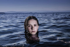 Girl in sea Royalty Free Stock Photography