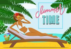 A girl by the sea on a sunbed. Vector illustration. Royalty Free Stock Photos