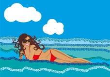 Girl sea vacation summer bikini sky water. Vector woman sunlight tropical leisure illustration ocean Royalty Free Stock Photos