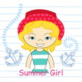 Girl with sea  vector illustration Stock Photography