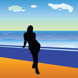 Girl and sea vector illustration Royalty Free Stock Image