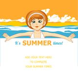 The girl and the sea. Vector illustration. Summer holiday. The girl and the sea. Vector illustration Stock Photography