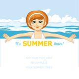 The girl and the sea. Vector illustration. Summer holiday. The girl and the sea. Vector illustration Royalty Free Stock Photography