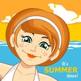 The girl and the sea. Vector illustration. Summer holiday. The girl and the sea. Vector illustration Royalty Free Stock Photo