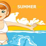 The girl and the sea. Vector illustration. Summer holiday. The girl and the sea. Vector illustration Stock Image