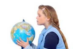 Girl is searching the world. Blond girl holding a globe in her hands Stock Photography