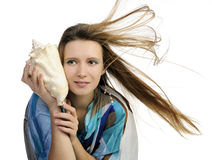 Girl with seashell Royalty Free Stock Images
