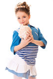 Girl with seashell in hand Royalty Free Stock Image