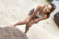 Girl on the seashore. Young happy girl on the seashore Royalty Free Stock Photos