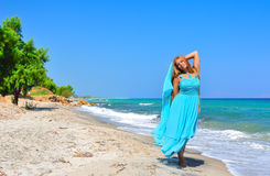 Girl on the seashore. Beautiful girl on the seashore Stock Photos