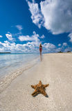 Girl on seashore and starfish. A girl walking along the seashore with a starfish in the foreground Stock Images