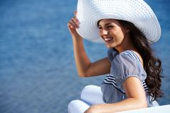 Girl at seaside Royalty Free Stock Images