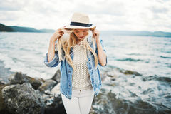 Girl by the seaside Royalty Free Stock Photos
