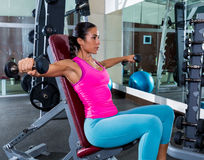 Girl seated dumbbell shoulder flies fly workout. Exercise at gym royalty free stock image
