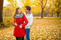 Girl seductive look at boyfriend in park Royalty Free Stock Photography
