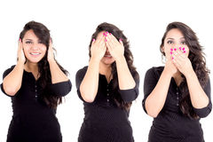 Girl see hear speak no evil metaphor Royalty Free Stock Photos