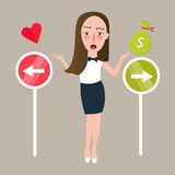 Girl select between love or money direction different choices. Vector Stock Photos