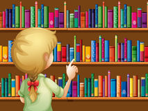A girl selecting books. Illustration of a girl selecting books Royalty Free Stock Image