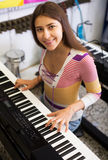 Girl selecting control keyboard Royalty Free Stock Images