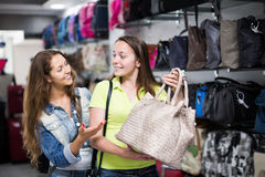 Girl selecting handbag in commercial centre Stock Photography