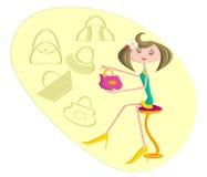 Girl selecting purse while shopping. Girl selecting purse and handbag while shopping Stock Images
