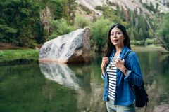 Girl self guided trip in nature california usa royalty free stock photos