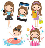 Girl Selfie Grocery Shopping Pool Birthday Lifestyle Set. Vector of girl taking selfie, grocery shopping, enjoying the pool, and having birthday Royalty Free Stock Images