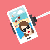 Girl selfie photo. Selfie set. Royalty Free Stock Photography