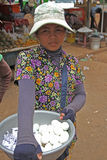 A Girl Selling Food at Skun Stock Image