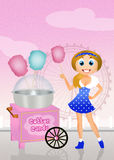 Girl sells cotton candy Stock Image