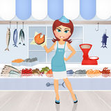 Girl sells fish. Cute illustration of girl sells fish Royalty Free Stock Photo