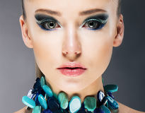 Glamorous Confident Woman in Semi Precious Turquoise Necklace close up Stock Photos