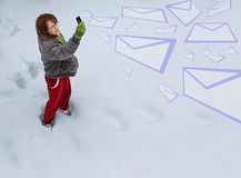 Girl sending emails Stock Photography